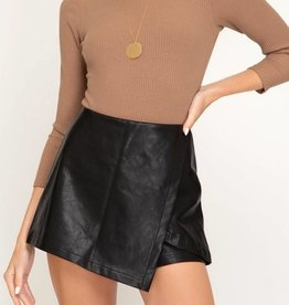 She's Got Heart Faux Leather Skort - Black