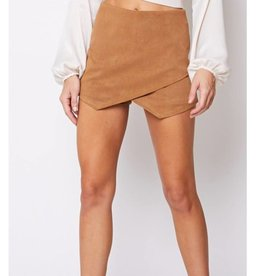 Off She Goes Corduroy Skort - Camel