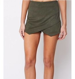 Off She Goes Corduroy Skort - Olive