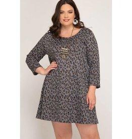 Jungle Fever Leopard Print Dress - Grey