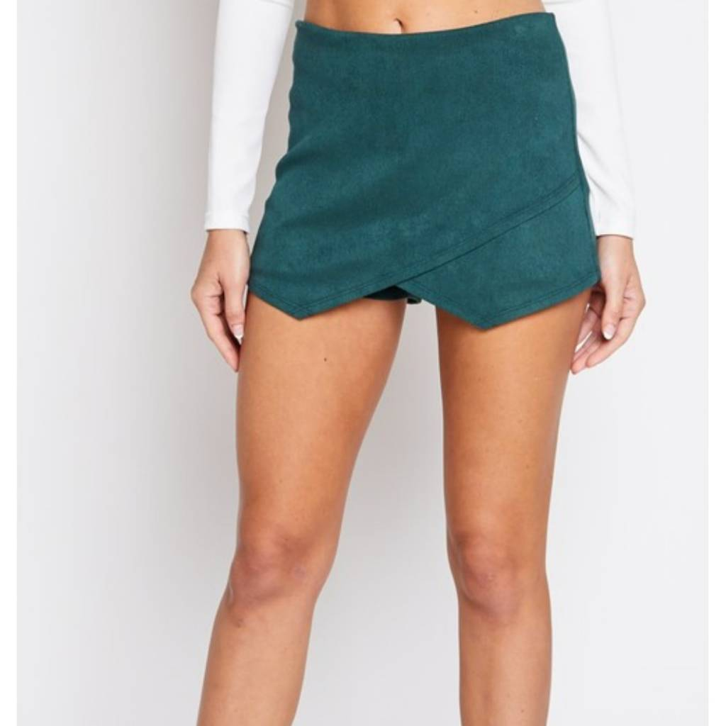 Off She Goes Corduroy Skort Hunter Green