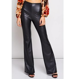 We'll Have This Day Leather Bell Bottom Pants- Black