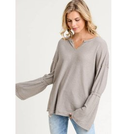 Fill My Days With Love Waffle Knit Top- Khaki