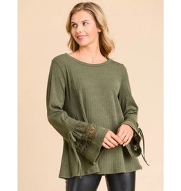 Your Sweet Charm Ribbed Ruffle Sleeve Sweater Top- Olive