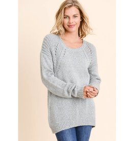 Access To Beauty Open Knit Sweater- Grey