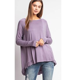 Sit Next To Me Ruffled Tunic Knit Top - Ash Purple
