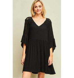 Since I Met You V-Neck Lace Detail Dress- Black