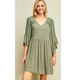 Since I Met You V-Neck Lace Detail Dress- Olive