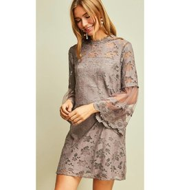 This is Happening Lace Mock-Neck Dress- Latte