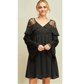 Dinner At Sunset Longsleeve Baby-Doll Dress- Black