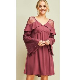 Dinner At Sunset Longsleeve Baby-Doll Dress- Twig