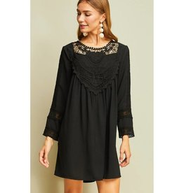 Starstruck By Love Crochet Lace Detail Dress- Black