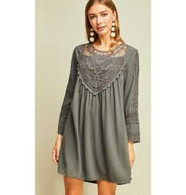 Starstruck By Love Crochet Lace Detail Dress- Charcoal