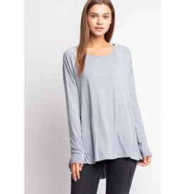 Sit Next To Me Ruffled Tunic Knit Top - Blue Grass