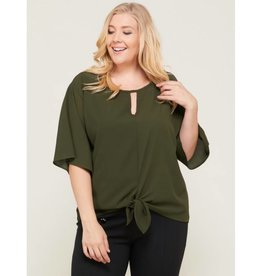 Well Wishes Kimono Sleeve Keyhole Tie Front Top- Olive