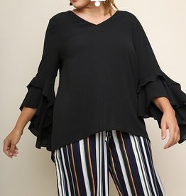 In This Life Ruffle Sleeve Top- Black