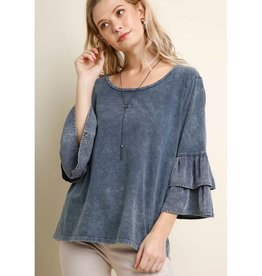 Lost In This Moment Layered Ruffle Sleeve Scoop Neck Top- Navy