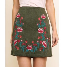 Little By Little Floral Corduroy High Wasted Skirt