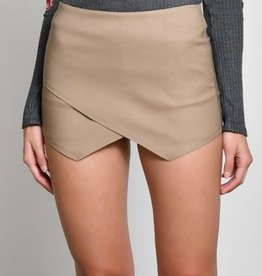 Off She Goes Suede Skort - Mocha