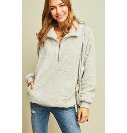 Soft Focus Fur Pullover Sweater- Grey