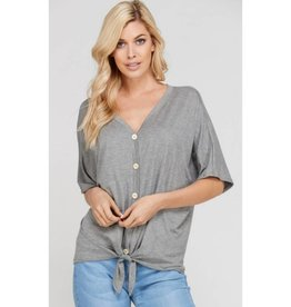 What A Luxury Button Down Top- Heather Grey