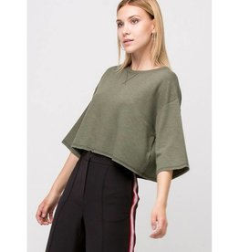 A Bright Future Raw Edge Crop Top- Olive
