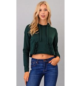 Our Love Lasts Forever Cropped Hoodie Top - Pine Tree