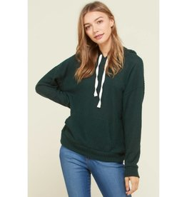 Knit For Me Waffle Hoodie - Pine Tree