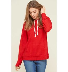 Knit For Me Waffle Hoodie - Red