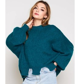 World Of Color Ripped Bottom Bubble Sleeve Sweater-Kelly Green
