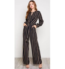 Find Your Confidence Striped Waist Tie Jumpsuit- Black