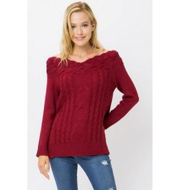 Run For The Roses Sweater- Cranberry