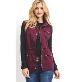 Looking Out Fur Lined Vest- Mulberry