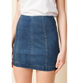 Just Let It Be Mini Skirt - Denim