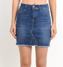 Keep It Short And Sweet Denim Skirt- Dark Wash