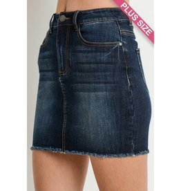Curvy Strong Mini Skirt- Dark Wash