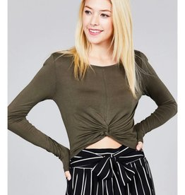 One Way Ticket Crop Top- Forest Olive