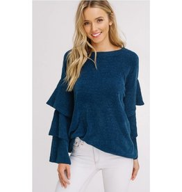 Slow Songs Layered Sleeves Pullover Sweater- Emerald
