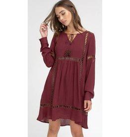 Eternally Grateful Lace Keyhole Dress- Plum