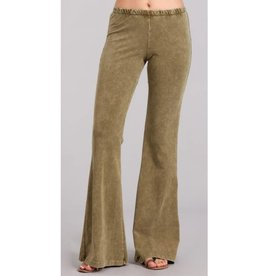 Nine To Five Bell Bottom Pants- Pale Olive