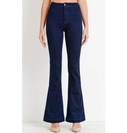 Dose Of Drama High Waist Flare Jeans- Super Dark Wash