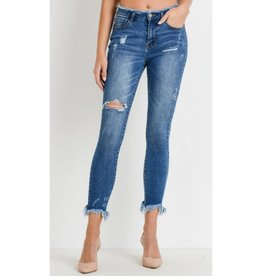 Timeless Creations High Waist Raw Ankle Skinny Jeans