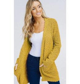 Let's Cuddle Popcorn Knit Cardigan - Mustard