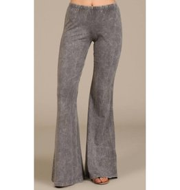 Nine To Five Bell Bottom Pants- Taupe Grey