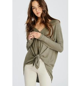 Hold My Own Waffle Knit Sweater- Olive