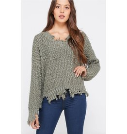 Living In Harmony Distressed Popcorn Knit Sweater- Olive