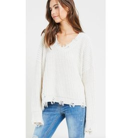 Need A Break Distressed V-Neck Sweater- Ivory