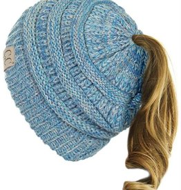 C.C Kids Ponytail Beanie Hat- Blue Triblend