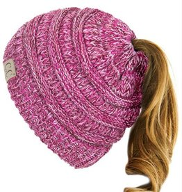 C.C Kids Ponytail Beanie Hat- Pink/Purple Triblend