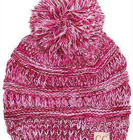 C.C Kids Pom Pom Beanie Hat- Pink Purple Triblend